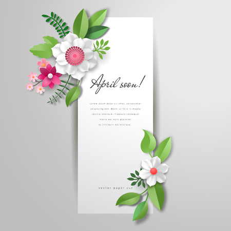 Vector illustration with banner. 3d pattern of paper flowers. Inscription April soon.