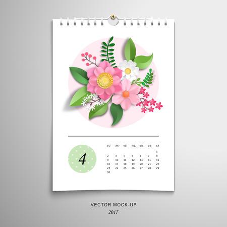 Spiral calendar for April. 3d paper flowers and leaves. Vector illustration. Imagens - 122743891