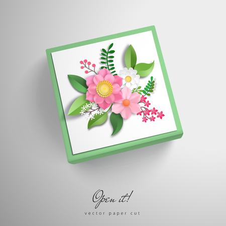 Cubric vector box with paper cut art. 3d flowers. Open it.