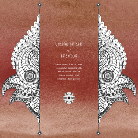 Vector card. Aquarell brown background with turkish flower pattern. Hand drawing. Place for your text. Zdjęcie Seryjne - 122687996
