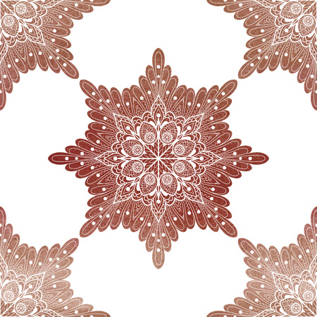 Openwork round brown watercolor pattern. Hand drawing. Vector seamless background.
