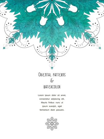 Vector vertical card. Green watercolor round oriental pattern of flowers. Place for your text.