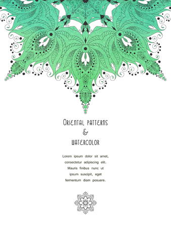 Vector vertical card with green aquarell turkish round floral pattern. Place for your text. Ilustração