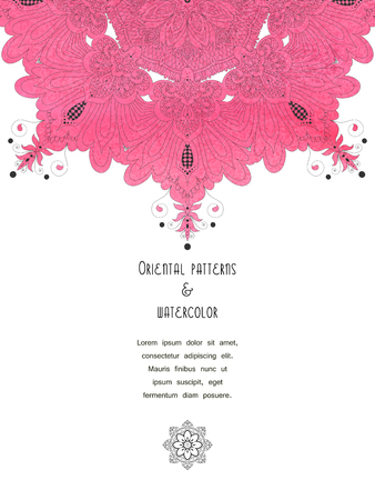Pink aquarell round turkish pattern. Vector vertical card. Place for your text.