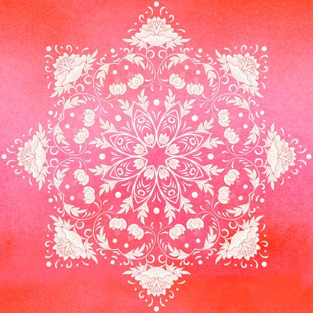 Fondo de vector. Patrón floral redondo en estilo chino. Imitación de pintura de porcelana china. Fondo rojo acuarela transparente. Dibujo a mano. Ilustración de vector
