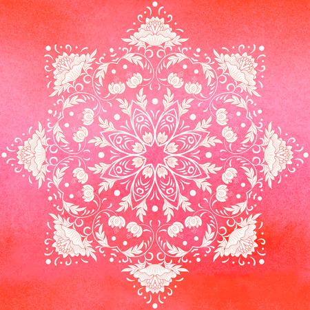 Vektor-Hintergrund. Rundes Blumenmuster im chinesischen Stil. Nachahmung der chinesischen Porzellanmalerei. Roter nahtloser Aquarellhintergrund. Handzeichnung. Vektorgrafik