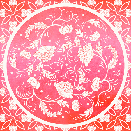 Vector background. Floral round pattern in chinese style. Simple delicate decor. Imitation of chinese porcelain painting. Red watercolor background. Hand drawing. Ilustração