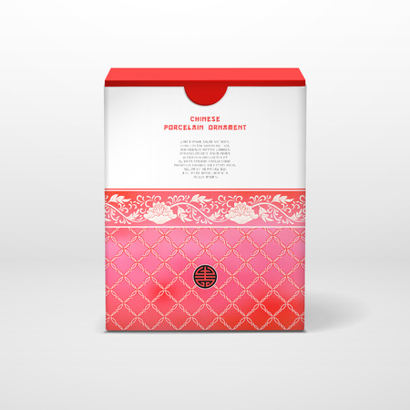 Vector illustration. Box with a floral chinese ornaments and place for your text.