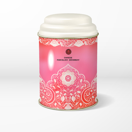 Vector object. Round tin packaging with a figured cover. Tea, coffee, dry products. Beautiful floral border. Imitation of chinese porcelain painting. Place for your text.