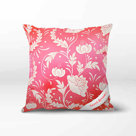 Vector pillow with beautiful flowers. Imitation of chinese porcelain painting.