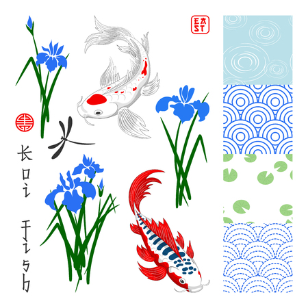 Set in oriental style. Seamless vector backgrounds, koi carps, irises and dragonfly. Inscription: Koi fish and East.