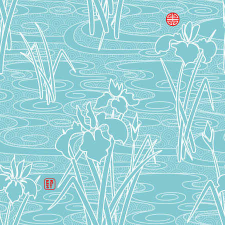 Seamless vector background in japanese style. Irises and geometric pattern. Inscription East. 写真素材 - 122695519