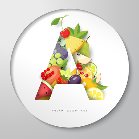 Round paper with letter A of fruits. Vector illustration.