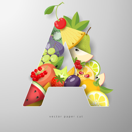 Fruit vector letter A. Realistic shadows. Paper art.
