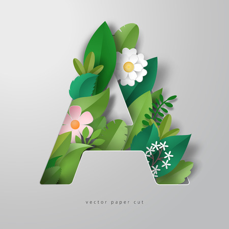 Vector letter A in style of paper art. Design of leaves and flowers.