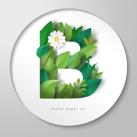 Vector paper cut design. Round paper with letter B of leaves and flower.