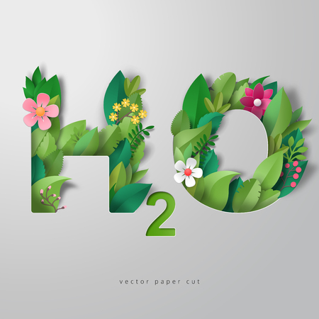 3d vector illustration. Lettering H2O in style of paper art. Paper leaves and flowers. Illusztráció