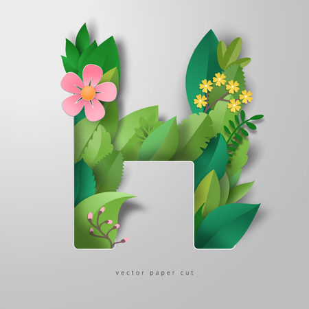 Vector letter H of leaves and flowers. Realistic paper cut design. Vettoriali
