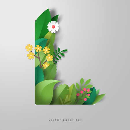 3d alphabet letter L with design of leaves and flowers. Vector paper cut art. Realistic shadows.