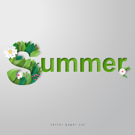 3d vector illustration. Letter S of leaves and flowers. Paper cut art.