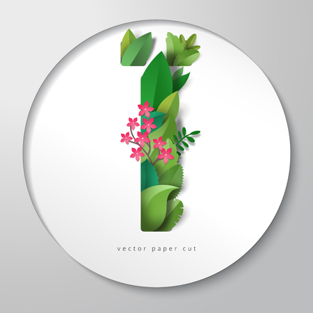 3d vector illustration with round paper with letter. Leaves and flowers. Paper art. Ilustração