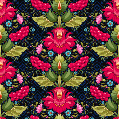 Vector seamless background. Floral ukrainian pattern in the style of Petrykivka painting and ornament similar to embroidery on dark backdrop.