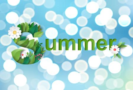 Vector illustration with inscription Summer. Bokeh effect on backdrop. Lettering of leaves and flowers. Ilustração