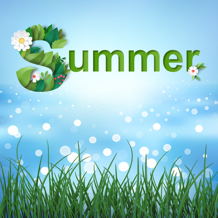 Illustration with inscription Summer of leaves and flowers. Background with sea water and grass.