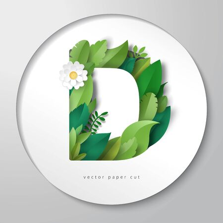 Paper art. Vector illustration with round paper with letter D of leaves and flowers.