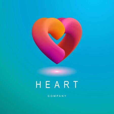 Vector badge in form of blend heart. Illustration