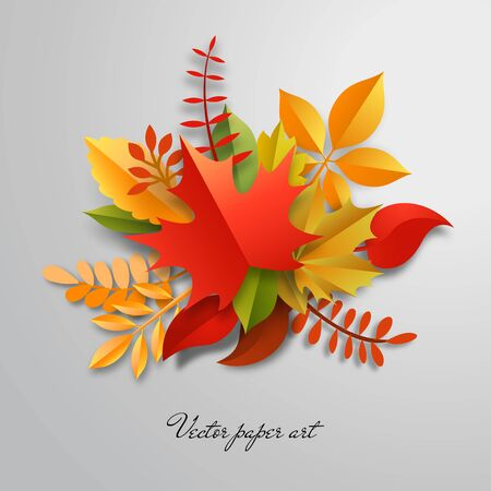 3d vector bouquet of paper autumn leaves. Paper cut style.