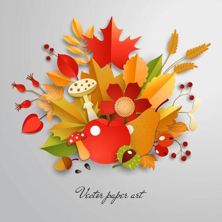3d vector bouquet. Paper autumn leaves, apples, mushrooms and berries. Paper cut style. Ilustração