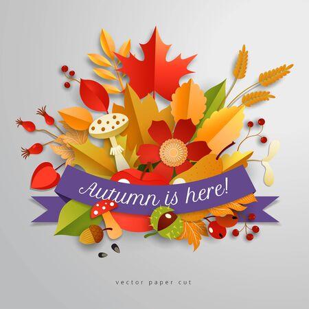 3d autumn composition. Vector banner. Inscription Autumn is here.