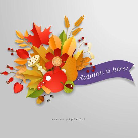 Vector banner. Paper cut style. 3d autumn composition. Inscription Autumn is here. Ilustração