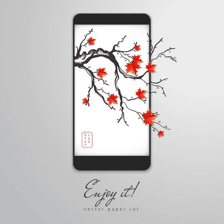Vector illustration. Paper cut design in the form of smartphone with branch of maple with leaves on the screen saver. The inscription - October. Enjoy it.