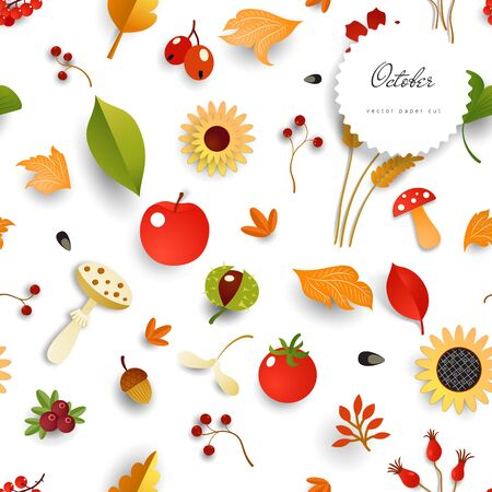 Seamless vector background with autumn elements.