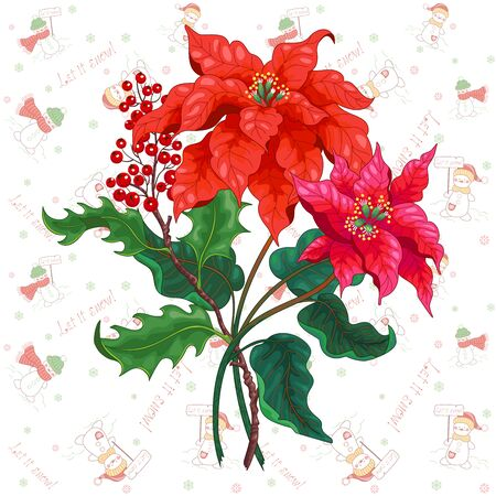 Vector element for design with branch of poinsettia flowers and pattern with christmas elements. Illusztráció