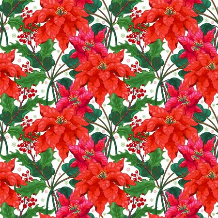 Seamless background with Poinsettia flowers and holly on winter ornament