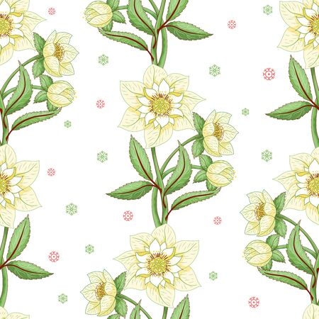 Winter ornament. Seamless vector background with lines of hellebore flowers 写真素材 - 135786865