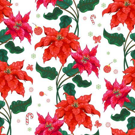Fond transparent avec motif d'hiver et fleurs d'étoile de Noël Vecteurs