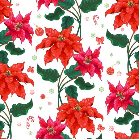 Seamless background with winter pattern and Christmas Star flowers 写真素材 - 135786870