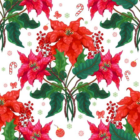 Seamless background with branches of poinsettia flowers and holly berries. Christmas winter ornament