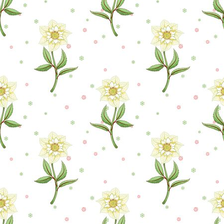 Seamless background with hellebore flowers. Winter design