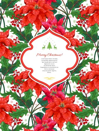 Card with Christmas Star flowers. Winter pattern on backdrop. Figured frame for your text