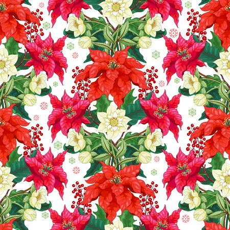 Seamless vector background with lines of hellebore, Christmas Star flowers, holly and snowflakes Illusztráció