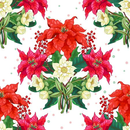 Seamless vector background with Christmas Star flowers, hellebore and holly. Winter snow ornament on backdrop