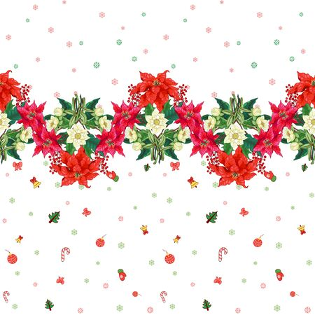 Seamless background with border of hellebore, holly, Christmas star and New year decoration