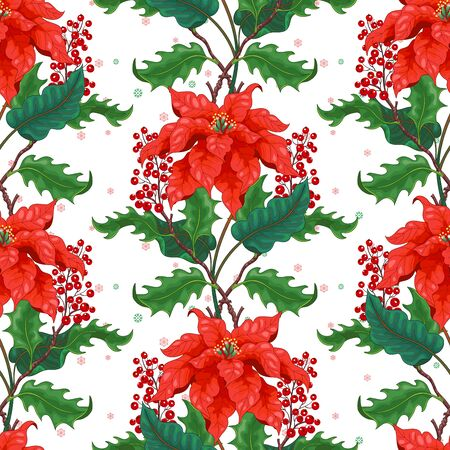 Seamless background with borders of Christmas star and holly berry on winter snow pattern 写真素材 - 135786875