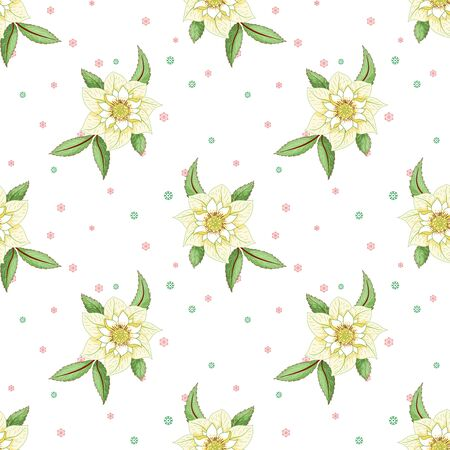 Seamless background with hellebore flowers and leaves. Winter snow ornament on backdrop Illusztráció