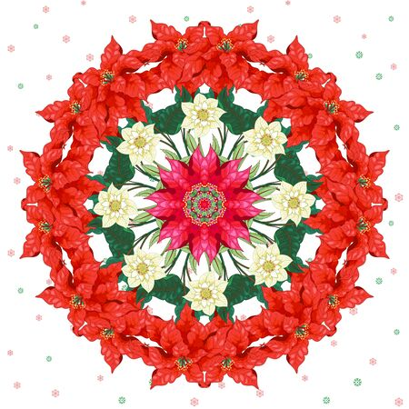 Christmas wreath from a Christmas star and hellebore on a seamless background with snowflakes Illusztráció